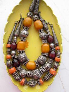 Yemen Ethnic Tribal Boho Silver & Cherry Amber Vintage Necklace - Yemeni Antique Silver Beads - Bedouin Hippie Chic Ultra Luxe