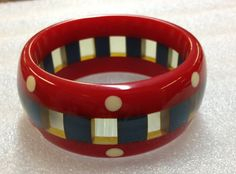 Shultz Chunky Bakelite Bangle in Red, White, Blue and Clear - Signed via Etsy