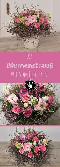 DIY - Romantischer Blumenstrauß wie vom Floristen! Diesen Strauß könnt ihr ohne floristisches Knowhow ganz einfach selber machen. Die Anleitung dazu findet ihr auf dem YouTube Kanal von DekoideenReich #DekoideenReich #Frühlingsstrauß #Anleitung #DIYFrühlingsdeko