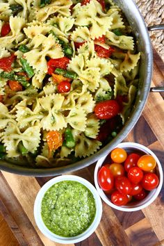 "Pesto Pasta Salad with Roasted Tomatoes and Asparagus | My son has developed a pretty decent palate, so I decided to whip up a few of his ""faves."" How do I know they're his faves? Because he greets each mouthful with a resounding ""Mmmm"" and then shovels it in so fast I fear he'll choke. Or puke. Which he's done. So yes, the following Pesto Pasta Salad is one such dish. 