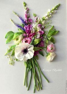 Купить Букет с анемоной - комбинированный, анемона, букет цветов, ягодные цвета…