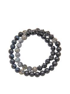 Men's Wrap Around Bracelet with Silver Cross Beads