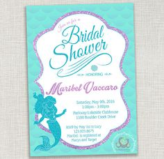Mermaid bridal shower mermaid bridal showers invitation ideas mermaid bridal shower invitation and by berrycuteprintables filmwisefo Images