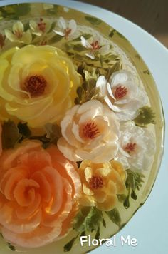 flower jelly DesertArt fb: Floral Me Ig:floralme_by_saithip - Modern Mousse, 3d Jelly Cake, Jelly Flower, Edible Flowers, Edible Art, Creative Cakes, Jello, Cake Art, Sweets