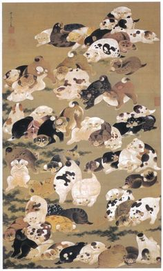 Puppies hanging scroll. 百犬図 [ひゃっけんず], 1799, Jakuchu Ito. Japan. Edo period. Eighteenth century