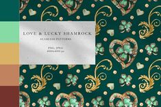 The set of high quality watercolor vintage jewerly with gold, turquoise and lucky shamrock cliparts. The set includes: - 10 JPEG seamless patterns Botanical Illustration, Graphic Illustration, Kid Picks, Wedding Arrangements, Creative Resume Templates, Vintage Turquoise, How To Look Classy, Home Textile, Print Patterns