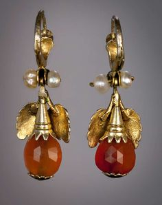 Georgian Amber Gold Earrings. A pair of Russian gilded silver, faceted amber, paste and fresh water pearl pendant earrings made in the last quarter of the 18th century, c 1780