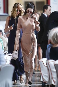 Kendall Jenner wearing Acne Studios Odessa Ankle Boots in Dusty Pink, Givenchy Lucrezia Micro Bag in Blush, Bec & Bridge Resort 2016 Dress and Oliver Peoples The Row After Midnight Sunglasses