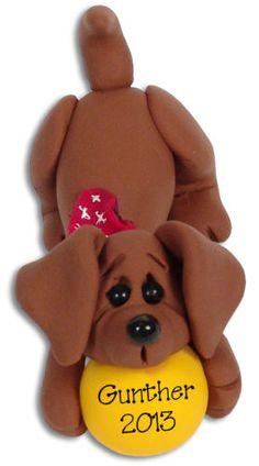 Dachshund-DOG-HANDMADE-POLYMER-CLAY-Personalized-CHRISTMAS-Ornament-Deb-Co
