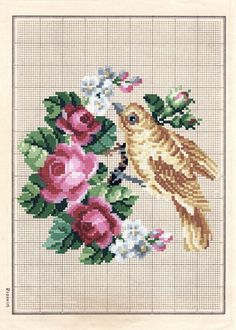 Antique needlepoint chart - pink cabbage roses and bird design #embroidery #needlework #crafts
