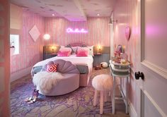 Here are 25 Fun and Cool Teen Bedroom Ideas Beautiful bedroom decor and design ideas for girls and boys. Creative teenagers bedroom design ideas you ma. Neon Bedroom, Glam Bedroom, Room Ideas Bedroom, Cozy Bedroom, Modern Bedroom, Bedroom Decor, Kids Bedroom, Girl Bedroom Designs, Aesthetic Room Decor