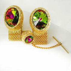 Swank Swarovski Crystal Rivoli Cufflinks Tie by NeatstuffAntiques, $185.00