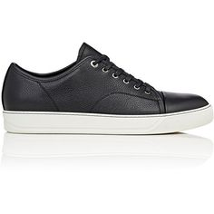 Lanvin Men's Cap-Toe Grained Leather Sneakers (€510) ❤ liked on Polyvore featuring men's fashion, men's shoes, men's sneakers, black, mens shoes, mens black cap toe dress shoes, mens black sneakers, mens cap toe shoes and men's low top shoes