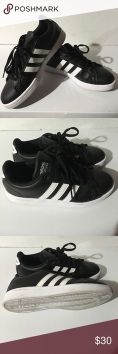 Black and White Adidas NEO (Woman's) NEVER WORN Black and White striped Adidas. Perfect condition, stylish shoes. adidas Shoes Athletic Shoes