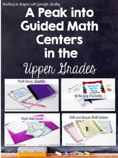 Guided Math in the Upper Grades. Read this post to see what centers this 5th grade teacher uses and what materials are in the centers. http://teachingtoinspire.com/2013/11/guided-math-in-upper-grades.html