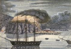 Depiction of Pōmare's Pā burning. By J. Williams. From the Alexander Turnbull Library ref. A-079-032.