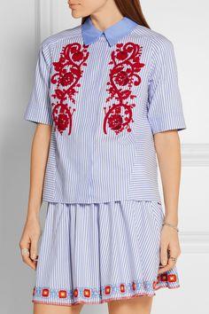 Tory Burch | Emily embroidered striped cotton Oxford shirt | NET-A-PORTER.COM