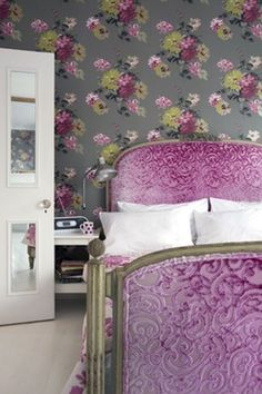pink velvet headboard in magenta! I don't care for wallpaper but this is wicked cool! Dannie Ashley via DENY Designs onto Personalizing your Space Country Interior Design, French Interior, My New Room, My Room, Damask Bedroom, Lilac Room, Velvet Headboard, Upholstered Headboards, Pink Bedding