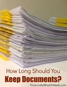 Have you organized your documents already? If you happen to have lots of documents in your kitchen, cabinets, bedroom and basically everywhere, then now is the right time to go over your documents again. But how long should you keep documents, and which ones should be shredded? Check out this practical list!  http://www.financiallywiseonheels.com/how-long-should-you-keep-documents/ #documents #organizing