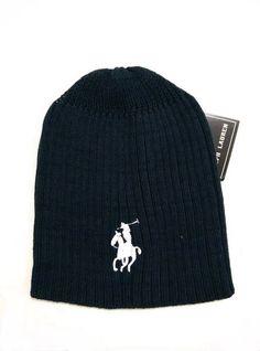 Men's / Women's Polo Ralph Lauren Big Pony 3D Embroidered Logo Skull Knit Beanie Hat - Black / White