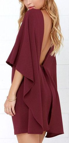 Burgundy Backless Dress ❤︎ Women, Men and Kids Outfit Ideas on our website at 7ootd.com #ootd #7ootd