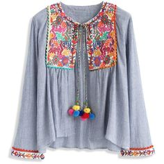 Chicwish Folksy Color Embroidered Jacket with Pom Pom ($51) ❤ liked on Polyvore featuring outerwear, jackets, tops, blue, blue jackets, embroidery jackets, multi colored jacket, blue camisole and colorful jackets