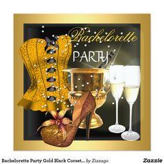 Bachelorette Party Gold Black Corset Shoes Card