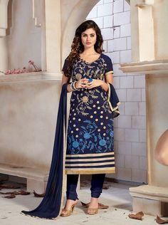 Navy Blue Chanderi Silk Churidar Suit 63361