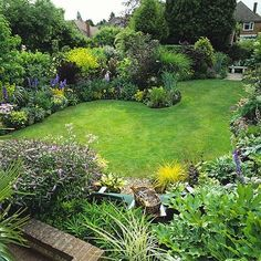 small lawn surrounded by lush borders