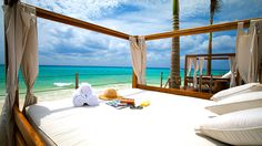 A sun bed on the beach at Royal Hideaway Playacar