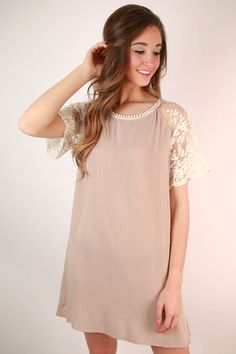 London Times Lace Shift Dress in Taupe