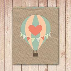 Kraft Paper Hot Air Balloon Nursery by PaperCanoePrintables, $5.00