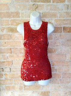 Red Sequin Tank/Shell Top Small by NoVeto on Etsy