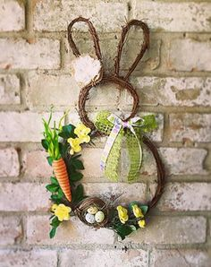 How to Make an Easter Bunny Grapevine Wreath : How to make your own bunny wreat. How to Make an Easter Bunny Grapevine Wreath : How to make your own bunny wreath using grapevine w Wreath Crafts, Diy Wreath, Grapevine Wreath, Diy Spring Wreath, Spring Crafts, Easter Wreaths, Holiday Wreaths, Fall Door Decorations, Maker