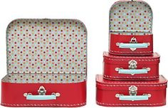 Red Multi Dots Suitcases (I can picture these on top of our bedroom bookcase)