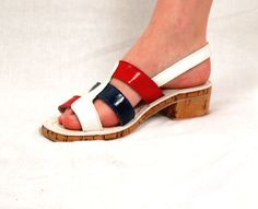 1970s sandals mod 70s shoes color blocked shoes by vintagerunway, $23.00
