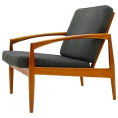 Kai Kristiansen Teak Single Lounge Chair Paper Knife Chair, Denmark 1955 | From a unique collection of antique and modern lounge chairs at https://www.1stdibs.com/furniture/seating/lounge-chairs/
