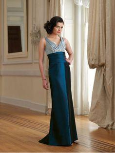 Taffeta V-Neckline Gathered Empire Bodice A-line Bridesmaids Dress