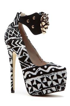 Black White Tribal Empire Platform Pumps @ Cicihot Heel Shoes online store sales:Stiletto Heel Shoes,High Heel Pumps,Womens High Heel Shoes,Prom Shoes,Summer Shoes,Spring Shoes,Spool Heel,Womens Dress Shoes