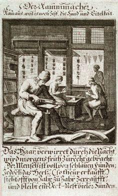 Der Kammmacher, plate 91 from the book Etwas für Alle … Stands- Ambts- Bewerbs-Persohnen…by Father Abraham à Santa Clara (Nuremberg: Christoph Weigel, [1699])
