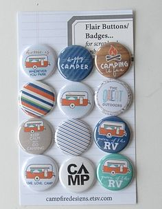 CAMPING Flair Buttons or Badges for by CampfireDesigns on Etsy, $8.00