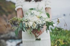 green and white bouquet, photo by Evynn LeValley http://ruffledblog.com/anderson-canyon-wedding #flowers #weddingbouquet