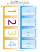 Spanish/English number flashcards