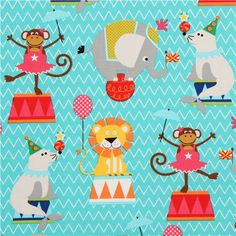 funny turquoise circus animal fabric by Michael Miller