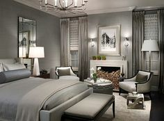 Bedroom   Love The Grays. Also Like The Tonal Bedding. And Like The Height