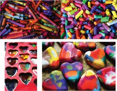 How to melt crayons in heart shapes. Love this idea. As a kid, I LOVED coloring and wish we'd thought of this to reuse crayons.