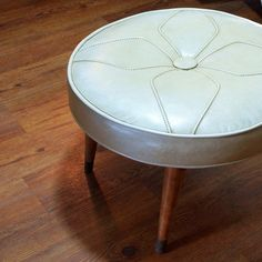 Large Fabulous Ottoman MID CENTURY MODERN Atomic Style Wood Legs Tufted Leather Like Cushion and Mod Geometric Design Stitching