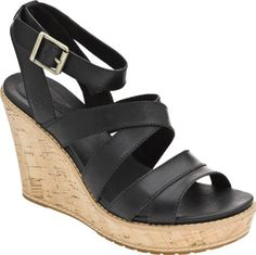 Timberland Women's Danforth Cork Wedge Sandal,Black,11 M US