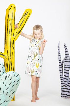 Theifandbanditkids's cactus-print mini-shift is made from organic cotton-spandex jersey and nontoxic water-based inks. Cute Outfits For Kids, Cute Kids, Look Fashion, Kids Fashion, Kids Girls, Baby Kids, Spring, Cactus Print, Stylish Kids