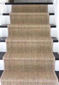 sisal stair runner on basement stairs Staircase Runner, House Staircase, Sisal Stair Runner, Staircase Remodel, Coastal Living Rooms, Basement Stairs, Entryway Stairs, Ladders, Arquitetura